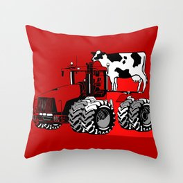 stolen tractor and cow Throw Pillow