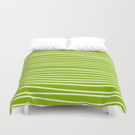 Apple Green & White Maritime Hand Drawn Stripes- Mix & Match with Simplicity of Life Duvet Cover