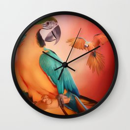 Macaws In Paint Wall Clock