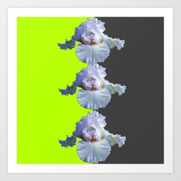 MODERN WHITE IRIS DIVIDED CHARTREUSE & GREY ART Art Print