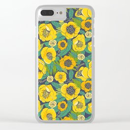 Yellow flowers, camellia and rose floral Clear iPhone Case