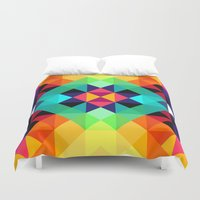 pixel art Duvet Covers featuring Pixel Art by Mwoon