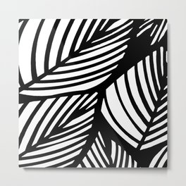 Artistic Black And White Overlapping Leaves Abstract Metal Print