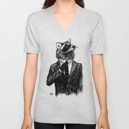 Dapper Raccoon Unisex V-Neck
