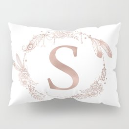Letter S Rose Gold Pink Initial Monogram Pillow Sham