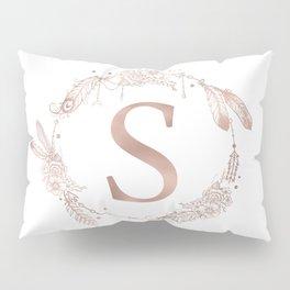 Letter S Rose Gold Pink Initial Monogram Pillow Sham