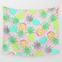 Pineapple Pandemonium Tropical Spring Wall Tapestry