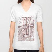 bridge V-neck T-shirts featuring Bridge by Howard Coale