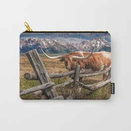 Texas Longhorn Steer with Wood Log Fence in Wyoming Pasture Carry-All Pouch