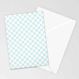 Small Checkered - White and Light Cyan Stationery Cards