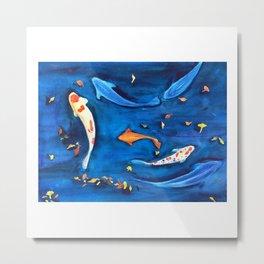 Koi fish in the water watercolor Metal Print
