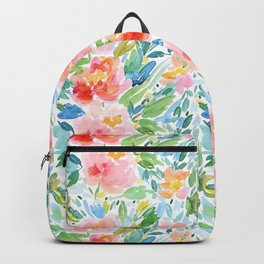Busy Watercolour Floral Backpack