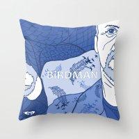 birdman Throw Pillows featuring Birdman by Chelsea Kepner