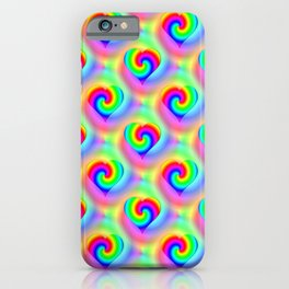 Hippie Love Neon Rainbow Heart Pattern iPhone Case