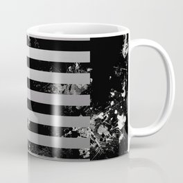 Industrial Action - Metallic, black and white, abstract, geometric, textured painting Coffee Mug
