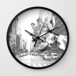 Black and White Selfie Giraffe in NYC Wall Clock