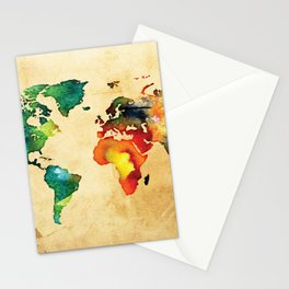 World Map in Watercolor on Old Paper Stationery Cards
