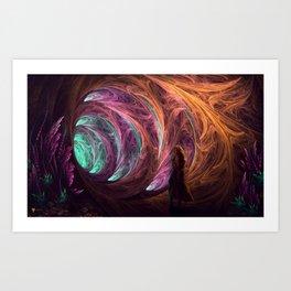 Towards The Light - Alice in Wonderland - White Rabbit - Fractal Art Print