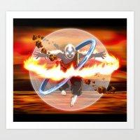 aang Art Prints featuring Avatar Aang by Waffle Guru