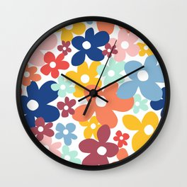 Wall Flower, Retro, Colorful, Floral Prints Wall Clock