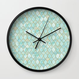 Luxury Aqua and Gold oriental pattern Wall Clock