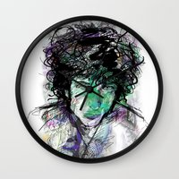dylan Wall Clocks featuring Bob Dylan by Irmak Akcadogan