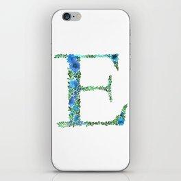Floral Monogram Letter E iPhone Skin