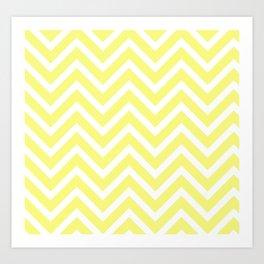 Chevron Stripes : Yellow & White Art Print