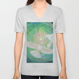 Doves, healing, green energy Unisex V-Neck
