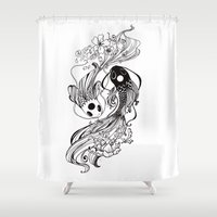 ying yang Shower Curtains featuring Ying and Yang Fishies by RizArtz