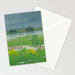 Kawase Hasui Vintage Japanese Woodblock Print Flooded Asian Rice Field Mountain Parallax Landscape Stationery Cards