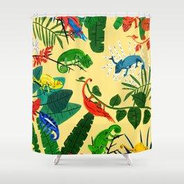 Nine Chameleons Hiding in the Tropics Shower Curtain