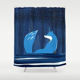 Wintery Blue Forest FOX Design Shower Curtain