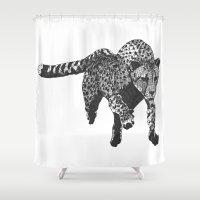 cheetah Shower Curtains featuring Cheetah by AJVicoso