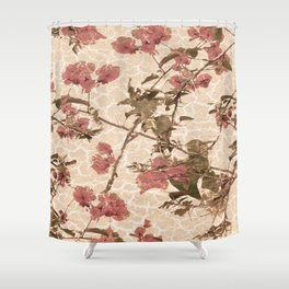 Textured Vintage Floral Motif Shower Curtain