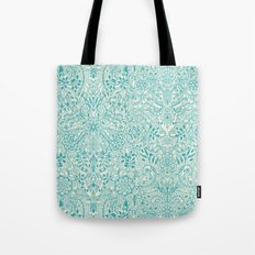 Detailed Floral Pattern in Teal and Cream Tote Bag