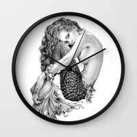mermaid Wall Clocks featuring Mermaid by April Alayne