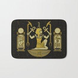 Egyptian Ornament Gold on black with hieroglyphs Bath Mat