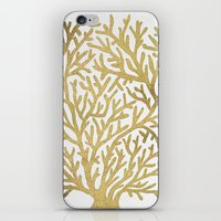 coral iPhone & iPod Skins featuring Gold Coral by Cat Coquillette
