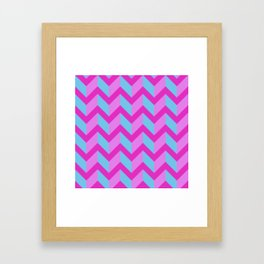 Pink Blue and Purple Chevron Framed Art Print