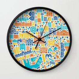 Vianina Barcelona City Map Poster Wall Clock