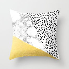 Carina - gold black and white with marble abstract painting minimalist decor dorm college nursery Throw Pillow