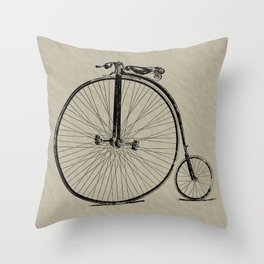 19th Century Bicycle Throw Pillow