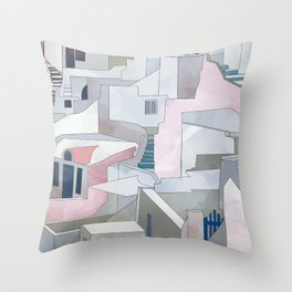 greece houses santorini Throw Pillow