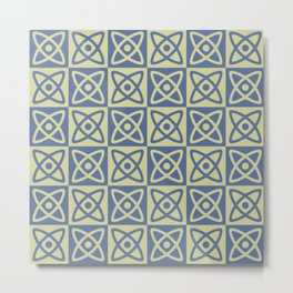 Mid Century Modern Atomic Check 141 Blue and Green Metal Print