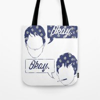 tfios Tote Bags featuring OKAY?OKAY THE FAULT IN OUR STARS TFIOS HAZEL AUGUSTUS CLOUDS SPEECH BUBBLES by monalisacried