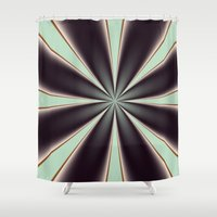 ashton irwin Shower Curtains featuring Fractal Pinch in BMAP01 by Charma Rose