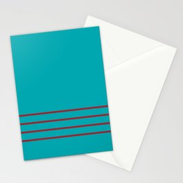 Aqua and Red Thin 4 Stripe Pattern 2021 Color of the Year Satin Paprika and Vintage Teal Stationery Cards