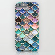 Multicolor pink and aqua mermaid scales - Beautiful abstract glitter pattern iPhone 6 Slim Case