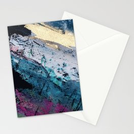 Twilight [2]: a beautiful, abstract watercolor + mixed-media piece in blue, gold, purple, + pink Stationery Cards